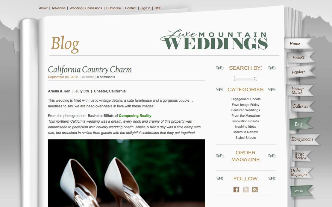 Published! Luxe Mountain Weddings Magazine
